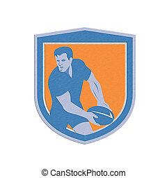 Metallic Rugby Player Passing Ball Shield Retro