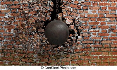 Metallic rusty wrecking ball on chain shattering an old ...