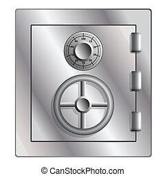 Metallic safe for storage of valuables. Vector illustration.