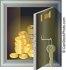 Metallic safe with gold coins inside, a symbol of wealth and security.