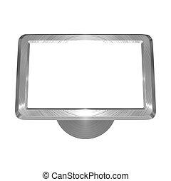 Metallic satellite navigation object on white background