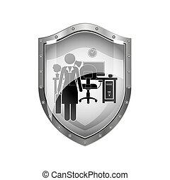 metallic shield of woman administrator in office