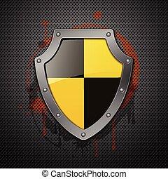 Metallic shield on a metal background.