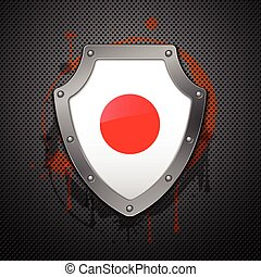 Metallic shield with a flag of Japan