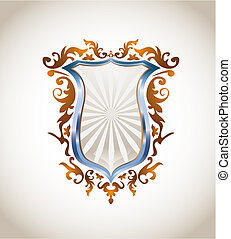 Metallic shield with ornament - Blue metal and bronze...