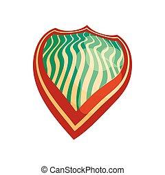 Metallic shield with stripes icon, cartoon style