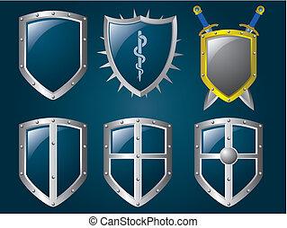 Metallic shiny shields set