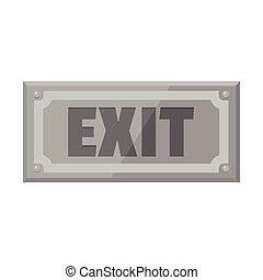 Metallic signboard with text exit for your design vector illustration isolated on white background
