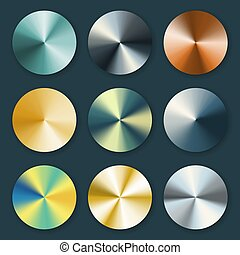 Metallic silver and gold conical metal vector gradients....