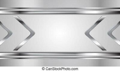 Metallic silver arrows tech motion graphic design. Video...