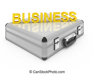 Metallic silver briefcase isolated on white. Business case