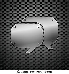 Metallic speech bubble icon. vector illustration