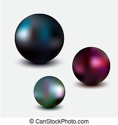 Metallic sphere, realistic vector illustration on white...