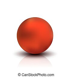 Metallic sphere, realistic vector illustration. Red dull...
