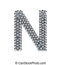 Metallic spheres alphabet letter symbol - N isolated on white background