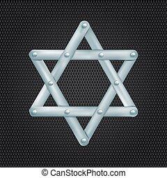 metallic Star of David on grid background. vector illustration