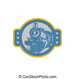 Metallic Steam Train Locomotive Front Retro