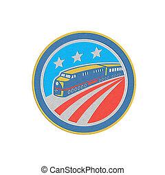Metallic Steam Train Locomotive Retro Shield