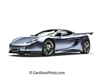 Metallic steel blue modern sports super car