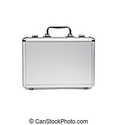 metallic suitcase isolated on white background
