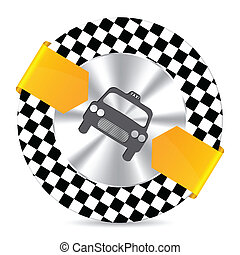 Metallic taxi badge with checkered background