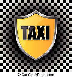 Metallic taxi shield shaped badge