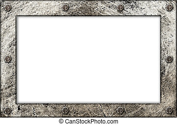 metallic texture framed frame with bolts