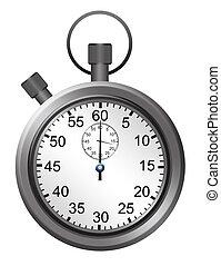 metallic and white timer over white background. illustration