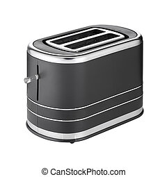 Metallic toaster isolated on white background