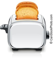 Metallic Toaster. Kitchen equipment for roast bread.