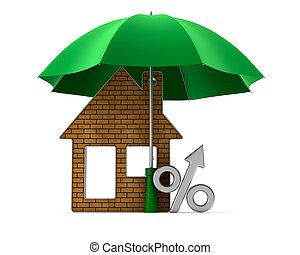 Metallic trinket house and percent under umbrella on white...