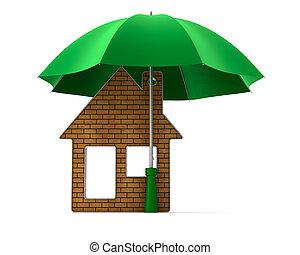Metallic trinket house under umbrella on white background....