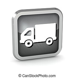 metallic truck icon button on a white background