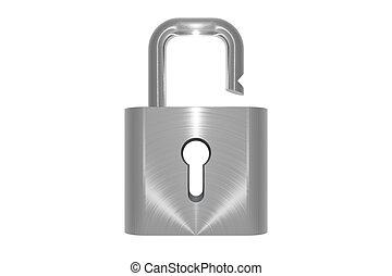 Metallic unlocked padlock object on white background