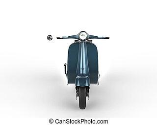 Metallic vintage blue moped