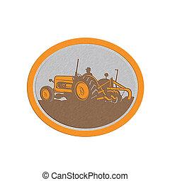 Metallic Vintage Farm Tractor Farmer Plowing Oval Retro