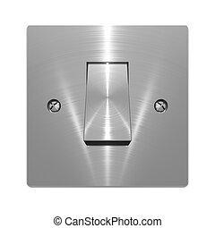 Metallic wall switch object on white background