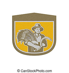 Metallic Wheat Farmer With Scythe and Crop Harvest Retro