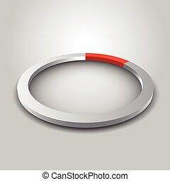 Metallic wheel graph with shadow.