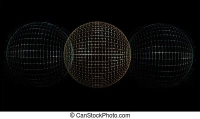 Metallic wireframe balls in abstract motion, fantasy...