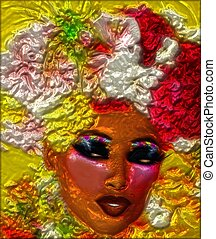 Metallic,abstract, woman's face