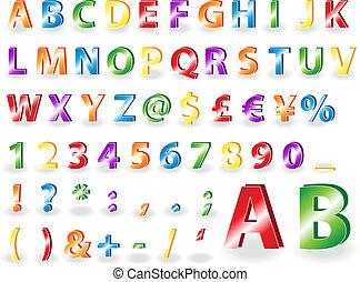 metallico, alfabeto, lettere, con, ombre