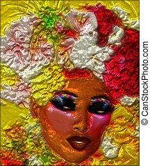 metallico, astratto, donna, faccia