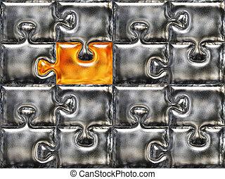 metallico, puzzle, aereo, superficie, con, uno, dorato,...