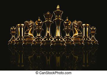 metallico, set, gold., scacchi