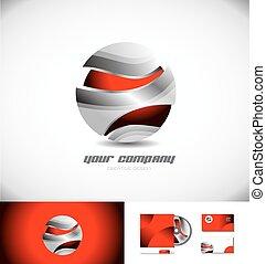 metallico, sfera, logotipo, 3d, rosso, icona