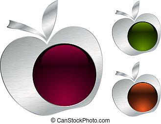 metallisk, äpple, ikonen