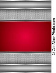 metallisk, bakgrund, tom, mall, röd, struktur