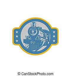 metallisk, damp tog, lokomotiv, forside, retro