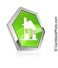 metallisk, hjem, ikon